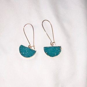 Dangly druzzy teal earrings
